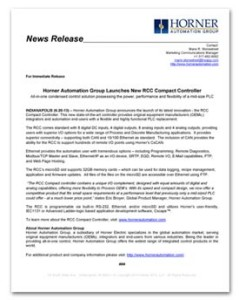 Horner Automation Group - RCC Product Launch News Release