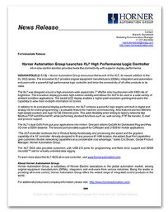 Horner Automation Group - XL7 Product Launch News Release