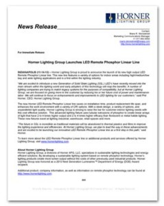 Horner Lighting Group - LED Linear Product Launch News Release