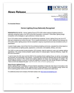 Horner Lighting Group - NGL Award News Release