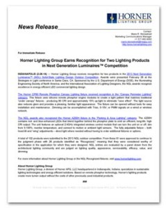 Horner Lighting Group - NGL Outdoor Award News Release